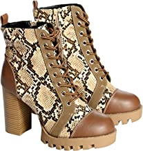 Wild Diva Lounge Womens Casual Almond Toe Lace Up Lug Sole Chunky Heel Ankle Booties - Camel Snake