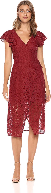 Ali & Jay Womens Laces & Paper Flowers Ruffled Short Sleeve Midi Wrap Dress Dress
