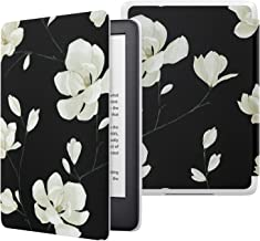 MoKo Case Fits All-NewKindle(10thGeneration-2019ReleaseOnly), Thinnest Protective Shell Cover with Auto Wake/Sleep, WillNotFitKindlePaperwhite10thGeneration2018 - Black & White Magnolia