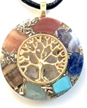 Orgone energy pendant necklace with golden tree of life and 7 chakras healing stones