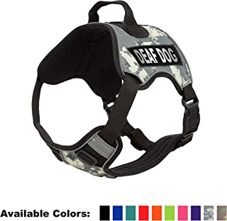 Dogline Quest No-Pull Dog Harness with Deaf Dog Reflective Removable Patches Reflective Soft Comfortable Dog Vest with Quick Release Dual Buckles Black Hardware and Handle