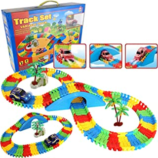 Liberty Imports 154 Pieces Create a Road Super Snap Speedway - Magic Journey Flexible Track Set - Ideal Gift Toy for Toddlers, Kids, Boys, and Girls (Starter Kit)