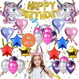 Unicorn balloons birthday party decorations | Unicorn party supplies | Set of 46 pcs Heart, Star Balloons, Headband, Gold Happy Birthday Banner | Bonus Air pump and ribbon