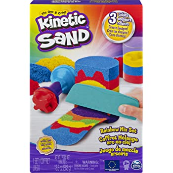 Kinetic Sand Rainbow Mix Set with 3 Colours of Kinetic Sand (382g) and 6 Tools, for Kids Aged 3 and Up