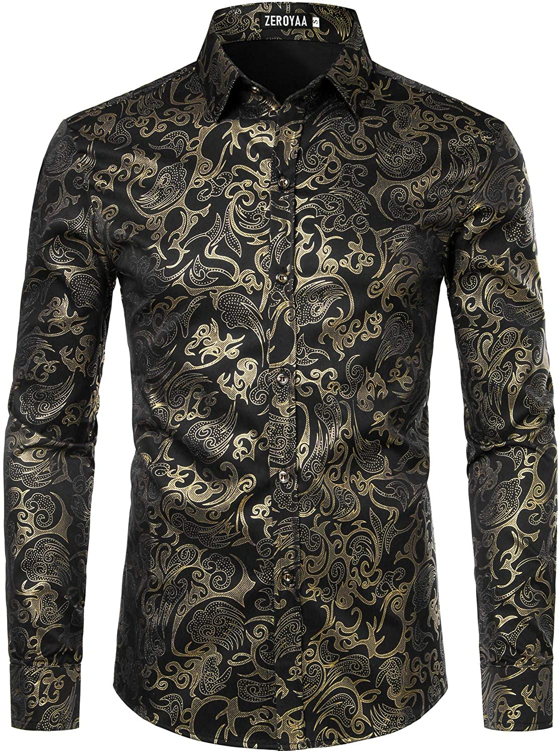 ZEROYAA Men's Luxury Gold Prom Design Slim Fit Long Sleeve Button up Party Dress Shirts