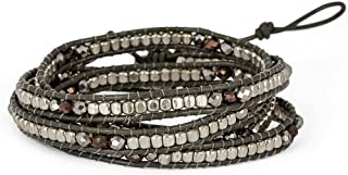 SPUNKYsoul Leather Faceted Statement 4 Wrap Bracelet Collection