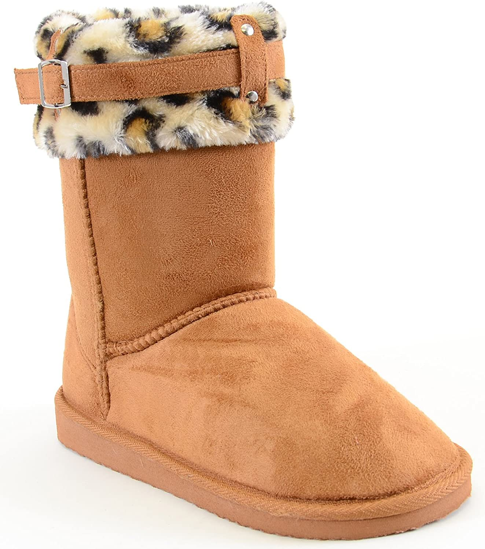 Fourever Funky Leopard Cuff Furry Buckle Vegan Suede Flat Warm Women's Boots
