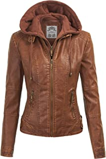 Betusline Womens Quilted Slim Fit Faux Leather Biker Jacket Coat Outerwear