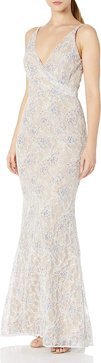 Dress the Population Women's Helen Sleeveless Surplice Wrap Top Lace Gown, Off White Multi, M