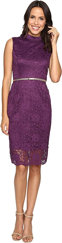 All Over Lace Dress w/ Mock Neck and Belt