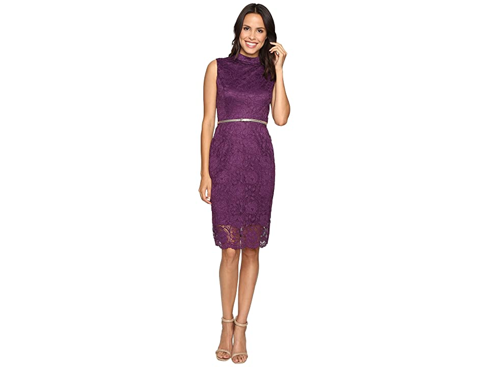 Ellen Tracy All Over Lace Dress w/ Mock Neck and Belt (Plum) Women