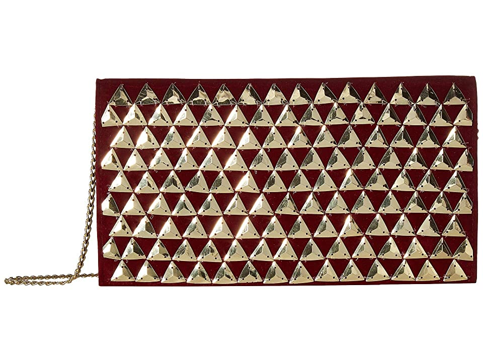 San Diego Hat Company BSB3550 Gold Pyramids On Velvet Clutch with Hidden Gold Chain (Red) Clutch Handbags