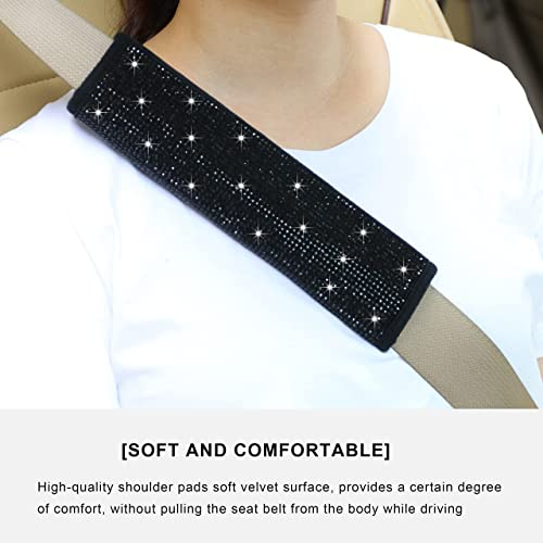popular Bling Seat Belt Covers with 2021 Rhinestone, Soft Twinkling Auto Belt Shoulder Pads for Girls or Women Universal Fit for Car Truck SUV Backpack Straps, sale Black 2pcs online sale