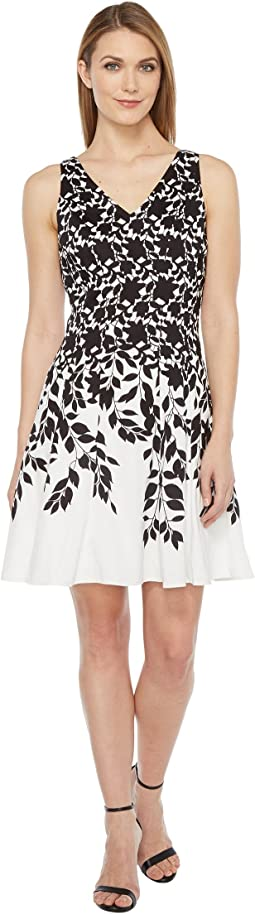 Lace Leaf Border Fit and Flare Dress