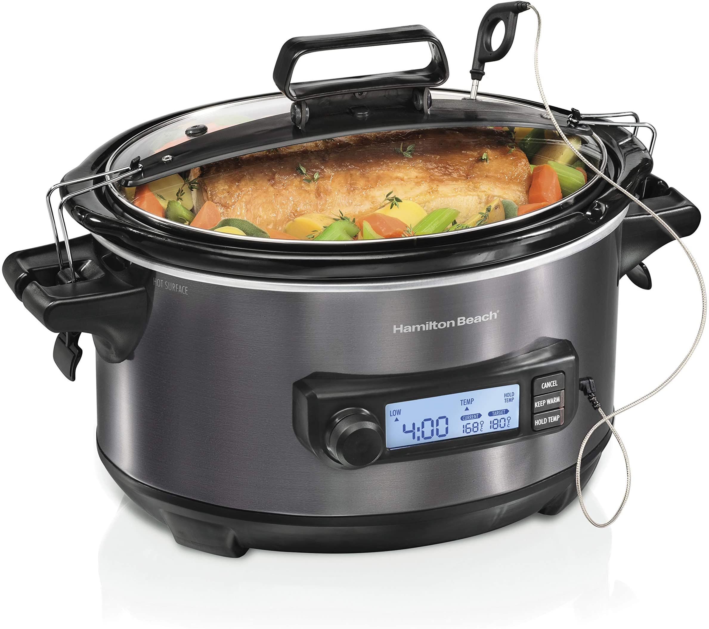 Hamilton Beach Portable 6-Quart Digital Programmable Slow Cooker With Temp Tracking Temperature Probe to Braise, Sous Vide, Make Fondue & Yogurt, Lid Lock, Black Stainless (33866)