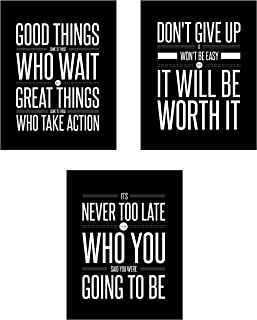 Don't Give Up 3 Poster Set Motivational Inspirational Quote Wall Art Posters - Black & White Typographic UNFRAMED Wall Home Decor, Office, Classroom, Dorm Room, Gym, Entrepreneur (8 x 10)