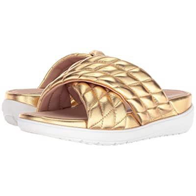 FitFlop Loosh Luxetm Cross Slide Leather Sandals (Gold Metallic Leather) Women