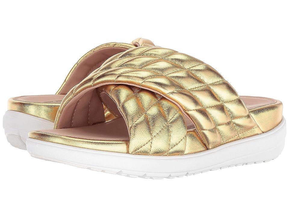 FitFlop Loosh Luxetm Cross Slide Leather Sandals (Gold Metallic Leather) Women