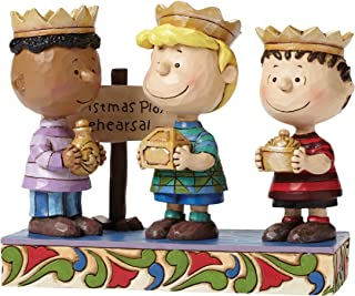 Peanuts by Jim Shore Three Wise Men Linus, Schroeder, Franklin Stone Resin Figurine, 4.6""