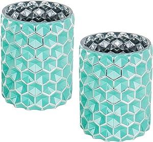 MyGift Lot de 2 vases en Verre Turquoise Motif nid d'abeille