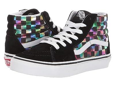 Vans Kids SK8-Hi (Little Kid/Big Kid) ((Irisdescent Check) Black/True White) Girls Shoes