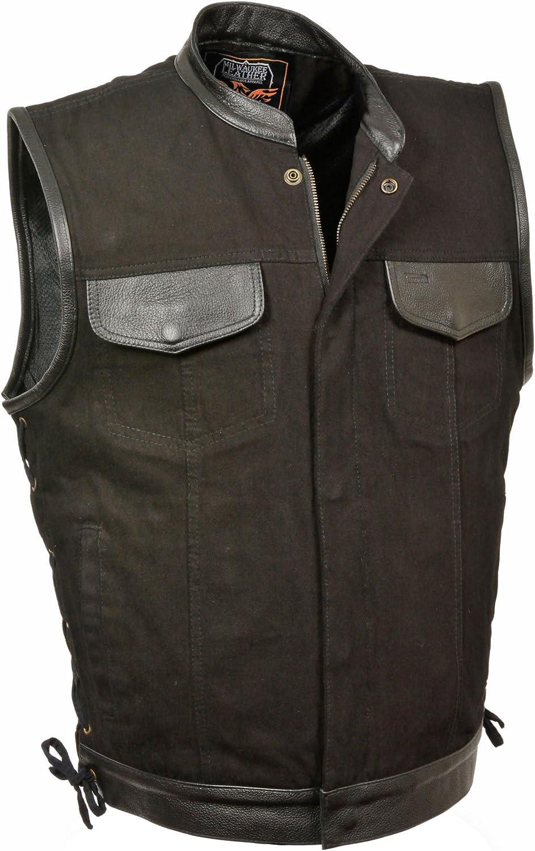 Men's Side Lace Denim Vest w/Leather Trim & Hidden Zipper (Black,)