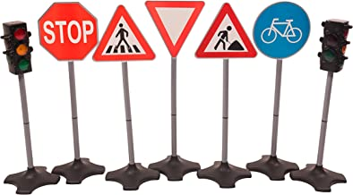 MMP Living Toy Traffic Light & Road Sign Deluxe Play Set - 2 Traffic Lights + 5 Road Signs, Over 2 feet Tall