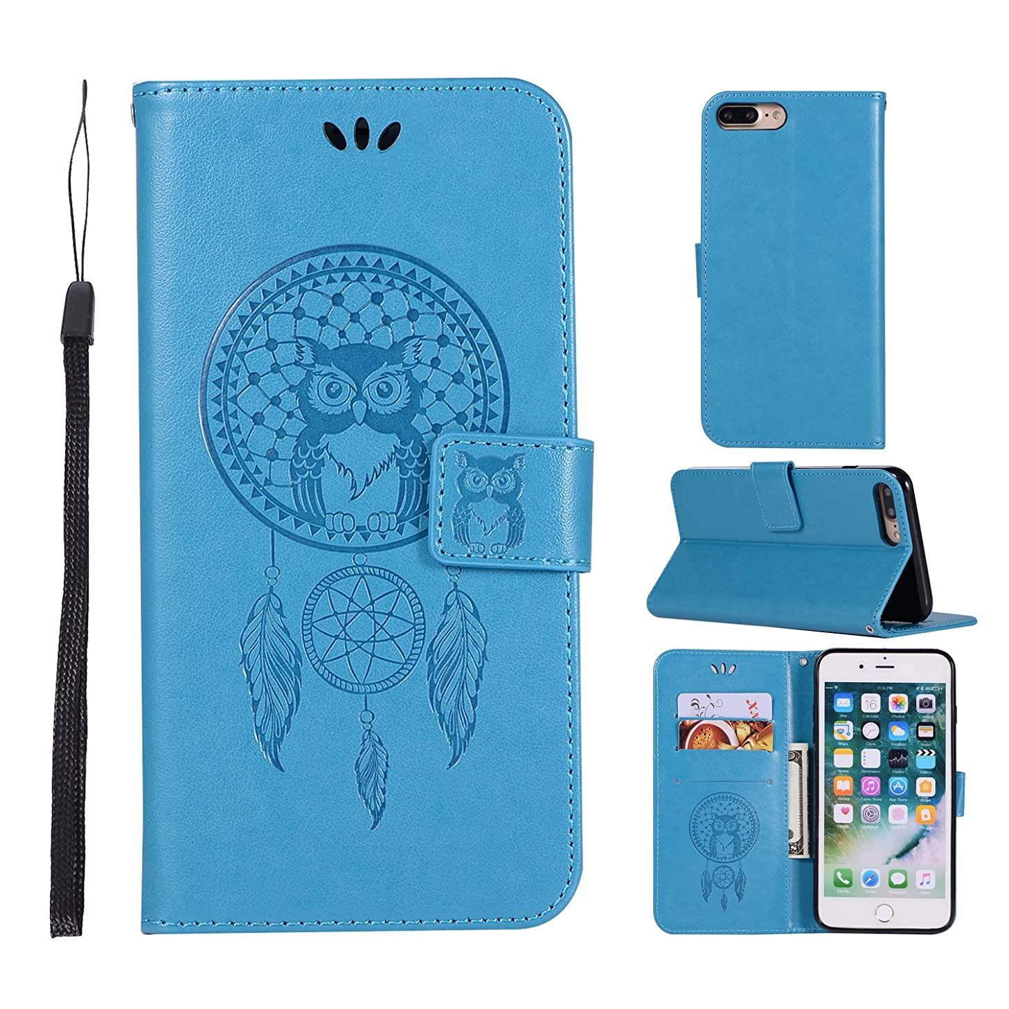 iPhone 7 Plus Case, iPhone 8 Plus Case, DECVO PU Leather Wallet Case with Kickstand and Magnetic Flip Cover Card Holders for iPhone 7 plus/iPhone 8 plus (Blue)