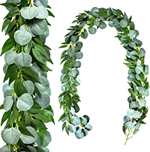 2 Pack Eucalyptus Garland Summer Eucalyptus Leaves Greenery Garland with Willow Leaves Fake Ivy Vines for Wedding Backdrop Arch Wall Indoor Outdoor Table Mantle Home Decor