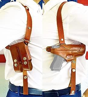 Aysesa Rig for Glock 19 Leather Shoulder Holster for Pistols 9mm 40 45 Concealed Carry Gun Fits: Glock G19 23 26 32 43, S&W 457, Sig Sauer p238 (Tan Brown)