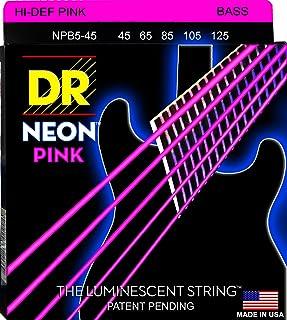 Dr Strings Neon 45–125–Juego de cuerdas para bajo rosa