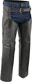M-BOSS MOTORCYCLE APPAREL-BOS15501-BLACK-Men's deep pocket motorcycle leather chaps.-BLACK-X-SMALL