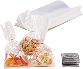 Gusset Cellophane Bags - 200-Pack Clear Bags Suitable for Popcorn, Cookies, Treats, Marshmallows, and More, 4 x 9 Inches