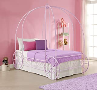DHP Metal Carriage Bed, Fairy Tale Bed Frame, Shabby-Chic Style, Twin, Lilac