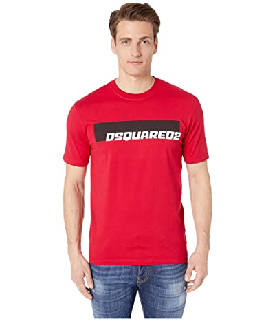 DSQUARED2 Moto Logo Stud Fit T-Shirt (Red) Men