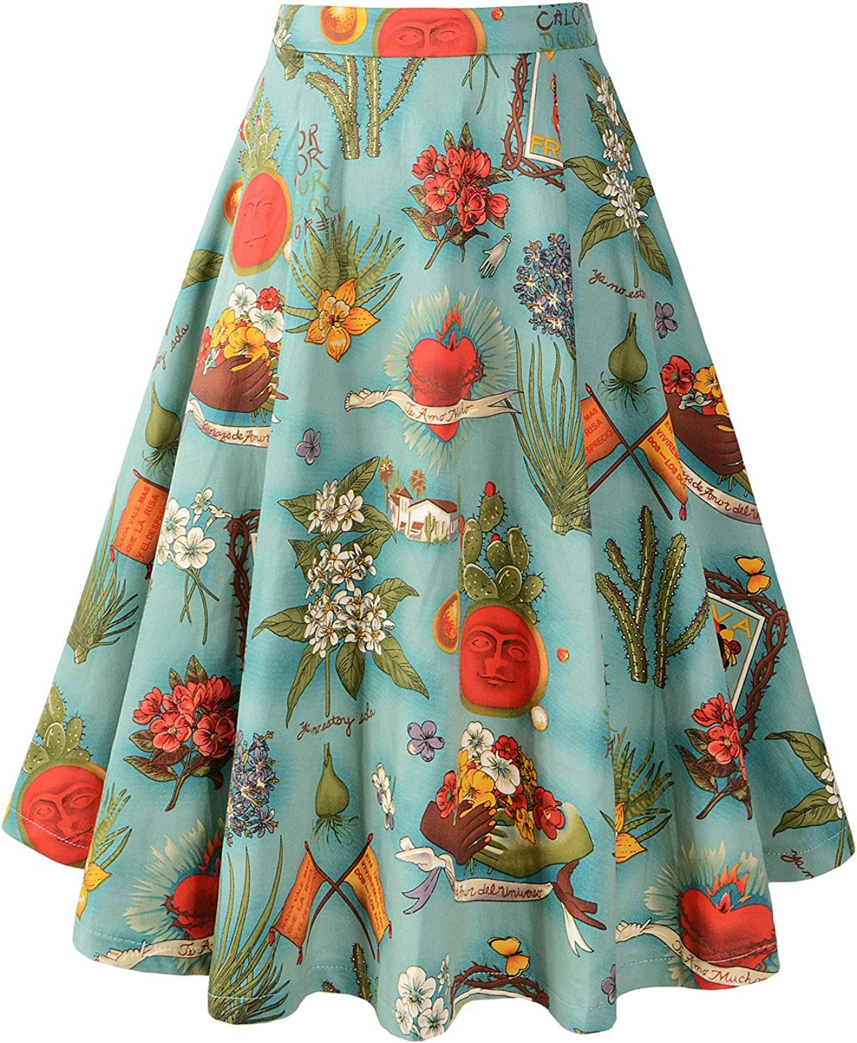 Pinup Fashion Women's Vintage Aline Floral Printed Pleated Flared Midi Summer Skirts