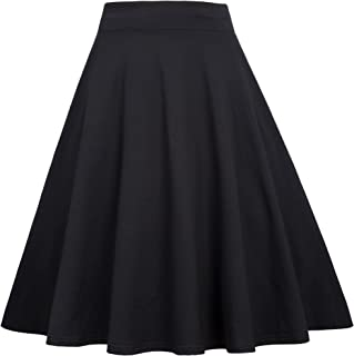 c44c7118c318 Belle Poque High Waist Stretchy A-Line Flared Midi Skirt
