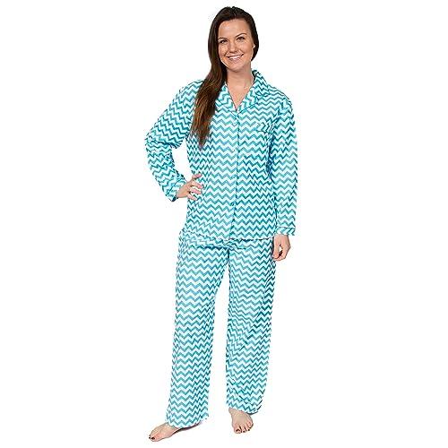 Leisureland Women s Cotton Flannel Long Sleeve Pajama Set 56ae42b69