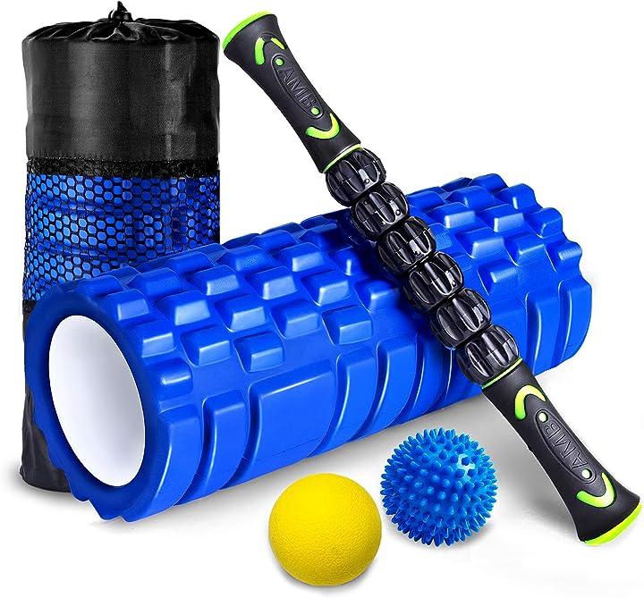 Rullo massaggio muscolare set 4 kit fitness foam roller in schiuma spiky ball lacrosse ball bastone B07KNTX1P4
