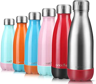 anature Stainless Steel Water Bottle,Double Wall Vacuum Insulation with Protective Silicon Pad;Perfect for Lunchbox,Backpack,Handbag;Small Size,9oz