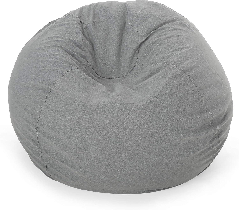 Great Deal Furniture Poppy Indoor Water Resistant 4.5' Bean Bag, Charcoal