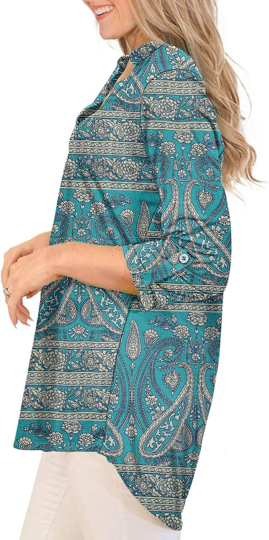MOLERANI Womens Plus Size Tunic Tops 3/4 Roll Sleeve Shirts V Neck Blouses M-5XL