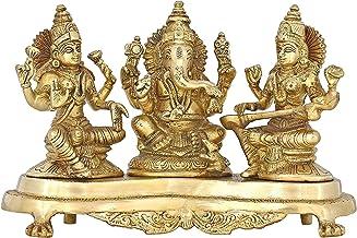 Handmade Indian Brass Ganesha, Lakshmi & Saraswati Statue - Hindu Religious Items for Home Puja or Temple - 9.5 X 6 X 4 in...