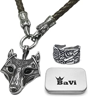 BaviPower Wolf Head Pendant with Brown Raven Head Braided Leather Necklace ♦ Stainless Steel ♦ Nordic Scandinavian Necklace ♦ Authentic Viking Jewelry for Men Women