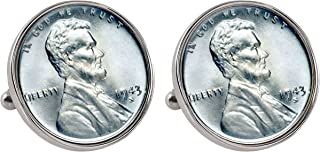 1943 Lincoln Steel Penny Bezel Coin Cuff Links   United States Coins   Men's Cufflinks   Minted Only One Year