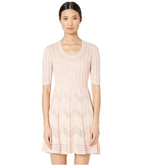 M Missoni Short Sleeve U-Neck Short Dress in Zigzag Stitch