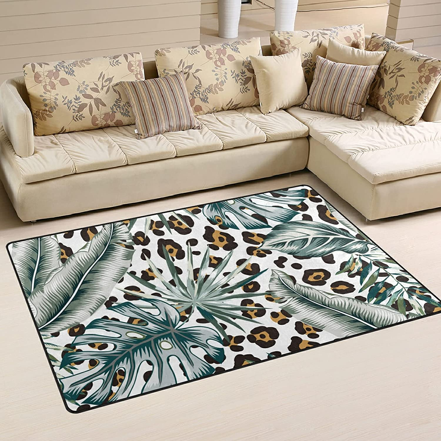 Monstera Leaves Animal Ranking TOP8 Print Large High quality new Nursery Rugs Playma Area Soft