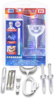20 Minute White Smile - As Seen on TV - Home Teeth Whitening Gel Kit, LED Light Accelerator - Safe for Sensitive Teeth, Professional Home or Mobile Whitening Kit works w iPhone, Android, Type-C & USB