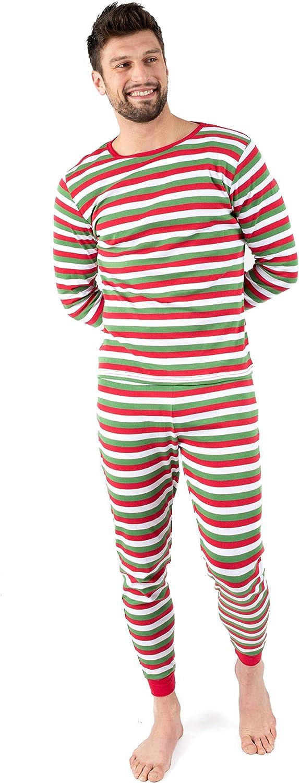 Leveret Men's Pajamas Fitted Striped Christmas 2 Piece Pjs Set 100% Cotton Sleep Pants Sleepwear (XSmall-XXLarge)