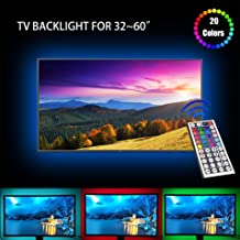 LED TV Backlight, USB Basic Lighting for 32-60in Television, Dimmable RGB Led Strip Lights with 20 Colors and IR Remote Control for Home Theater Decoration and Reduce Eye Strain and Increase Image Cl